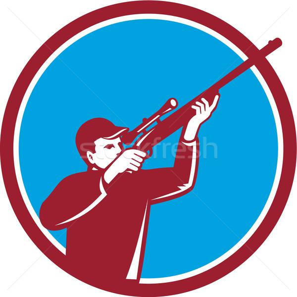 Hunter Shooting Up Rifle Circle Retro Stock photo © patrimonio