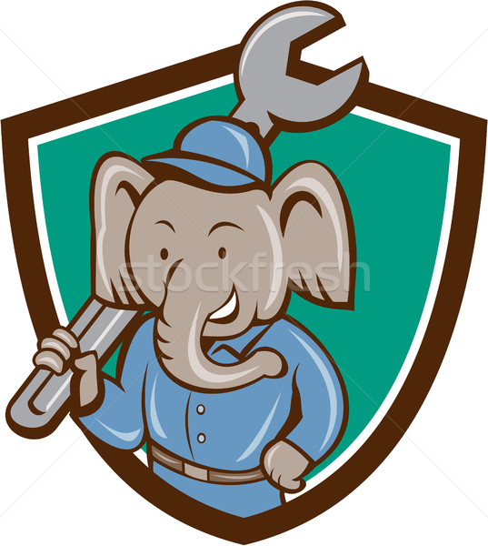 Elefánt szerelő csavarkulcs váll címer rajz Stock fotó © patrimonio