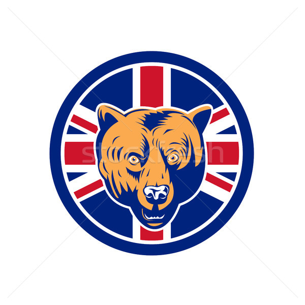 İngilizler ayı İngiliz bayrağı bayrak ikon retro tarzı Stok fotoğraf © patrimonio