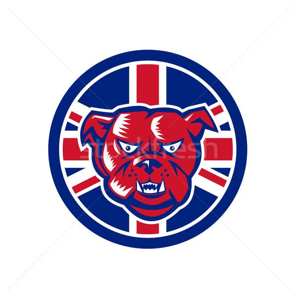 Brit bulldog brit zászló zászló ikon retró stílus Stock fotó © patrimonio