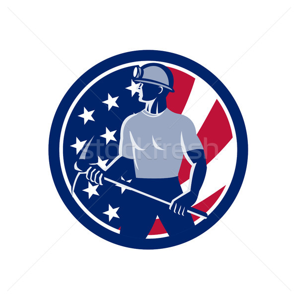 American Coal Miner USA Flag Icon Stock photo © patrimonio