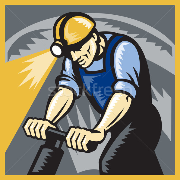 Coal Miner Drilling Pneumatic Drill Retro Woodcut Stock photo © patrimonio