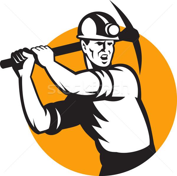 Stock photo: Coal Miner Working Pick Ax Retro