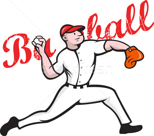 Baseball Pitcher Player Cartoon Stock photo © patrimonio