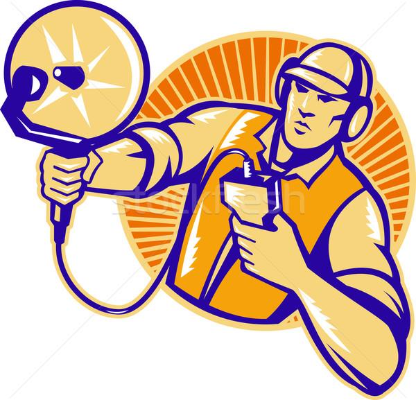 Engineer Technician With Ultrasound Sonar Dish Stock photo © patrimonio