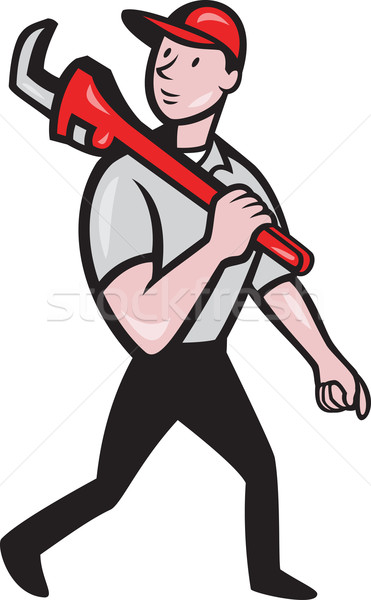 Plumber With Monkey Wrench Cartoon Stock photo © patrimonio