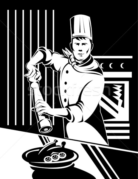 chef cook baker holding holding pepper shaker in kitchen Stock photo © patrimonio