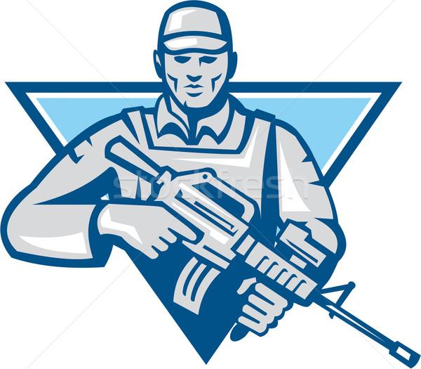 Amerikaanse soldaat aanval geweer retro illustratie Stockfoto © patrimonio