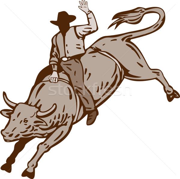ロデオ カウボーイ 牛 ライディング 実例 孤立した ストックフォト © patrimonio