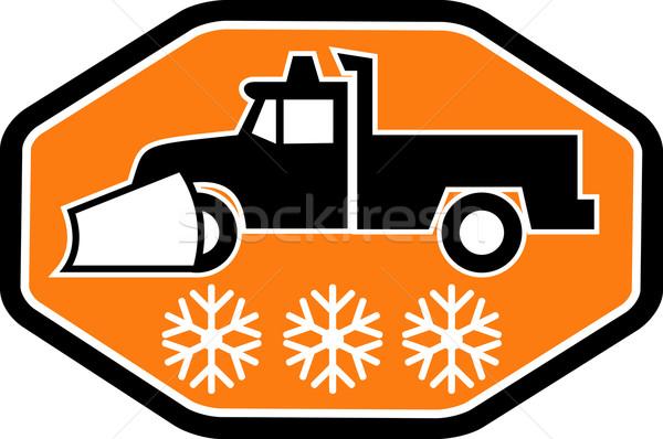 Snow plow truck with snowflake Stock photo © patrimonio