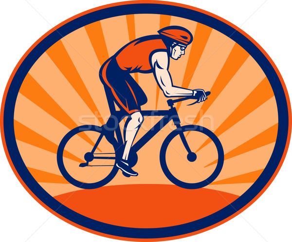 Triathlon atleta equitação ciclismo bicicleta ilustração Foto stock © patrimonio