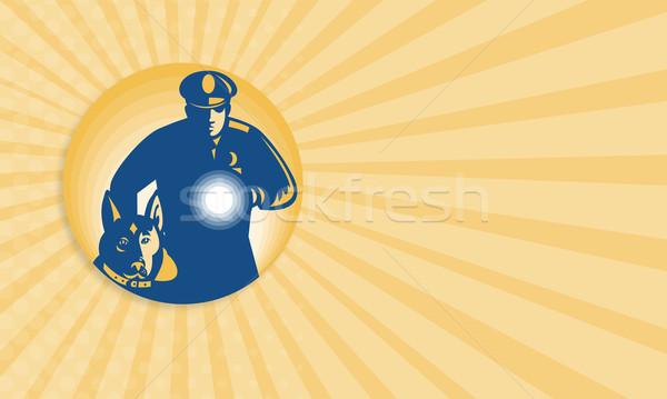 Biztonsági őr rendőr rendőrség kutya mutat illusztráció Stock fotó © patrimonio