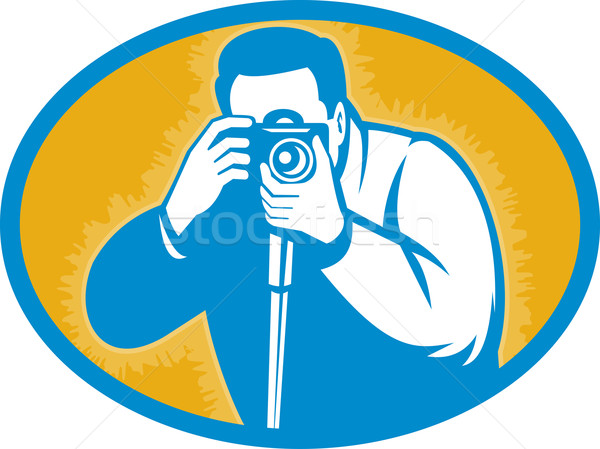 Photographer with dslr camera shooting front Stock photo © patrimonio