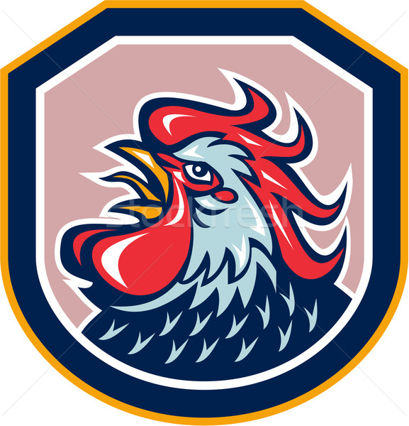 Rooster Cockerel Crowing Shield Retro Stock photo © patrimonio