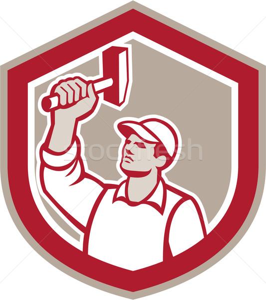 Union Worker Wielding Hammer Shield Retro Stock photo © patrimonio