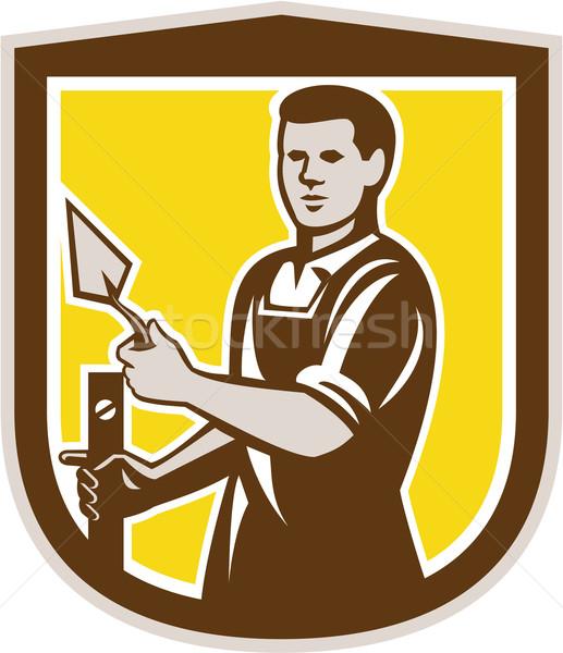 Mason Masonry Worker Trowel Shield Retro Stock photo © patrimonio