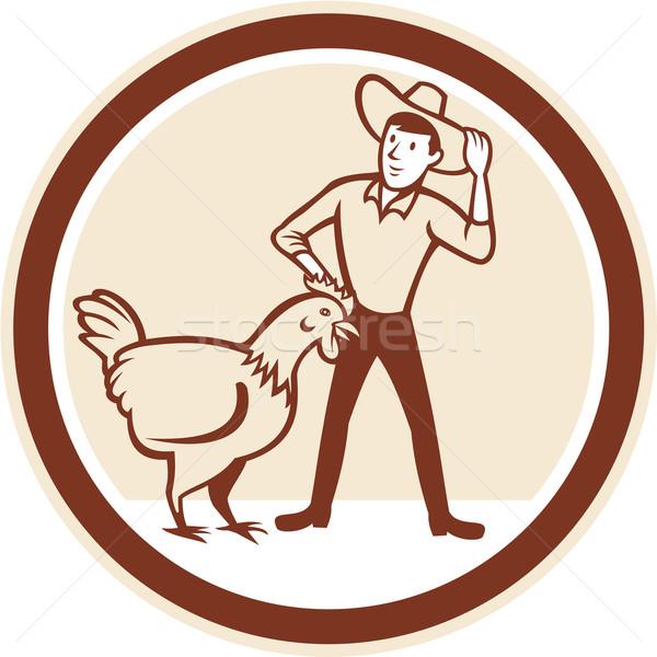 Chicken Farmer Feeder Circle Cartoon Stock photo © patrimonio