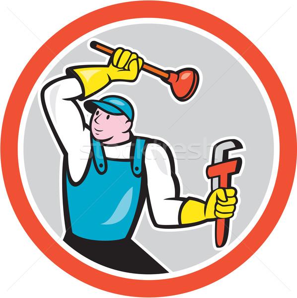 Plumber Holding Wrench Plunger Cartoon Stock photo © patrimonio