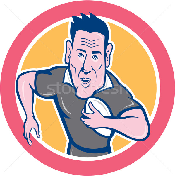 Rugby Player Running Charging Circle Cartoon Stock photo © patrimonio
