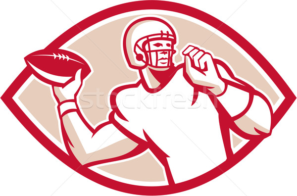 American Football QB Throwing Oval Retro Stock photo © patrimonio