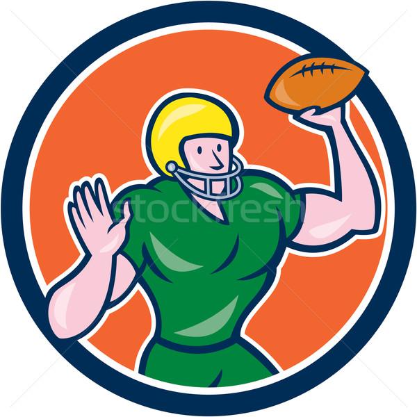 American Football QB Throwing Circle Retro Stock photo © patrimonio