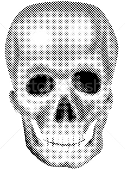 Rendered skull halftone dots black and white Stock photo © patrimonio