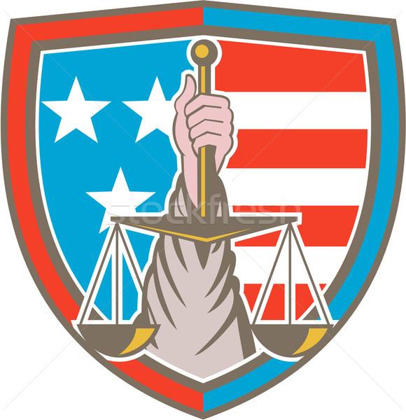 Hand Holding Scales of Justice Shield Retro Stock photo © patrimonio
