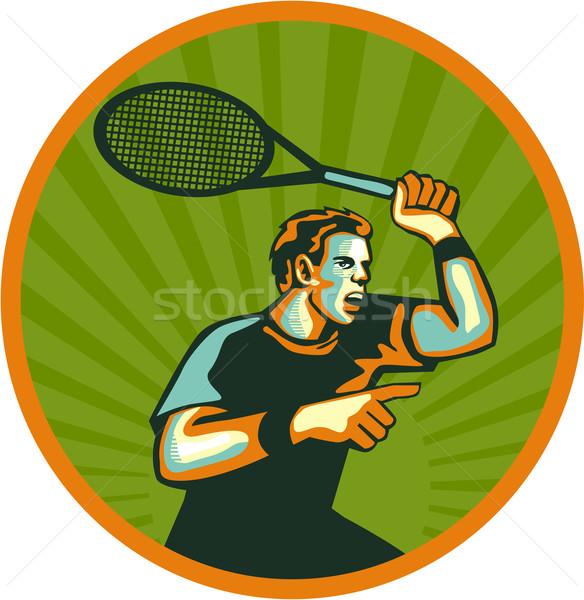 Tennis Player Racquet Circle Retro Stock photo © patrimonio