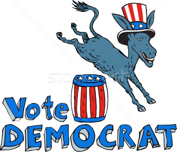 Oy demokrat eşek maskot atlama namlu Stok fotoğraf © patrimonio