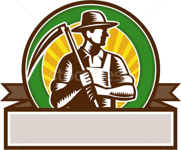 Organic Farmer Holding Scythe Circle Woodcut Stock photo © patrimonio