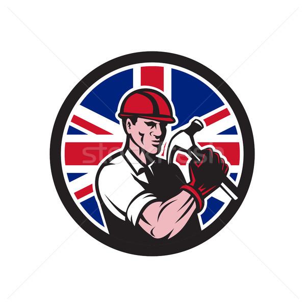 Britânico handyman union jack bandeira ícone estilo retro Foto stock © patrimonio