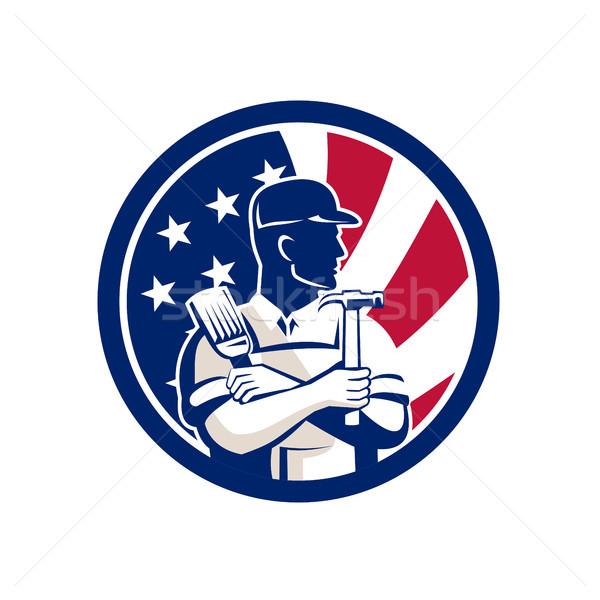 Stok fotoğraf: Amerikan · uzman · ABD · bayrak · ikon