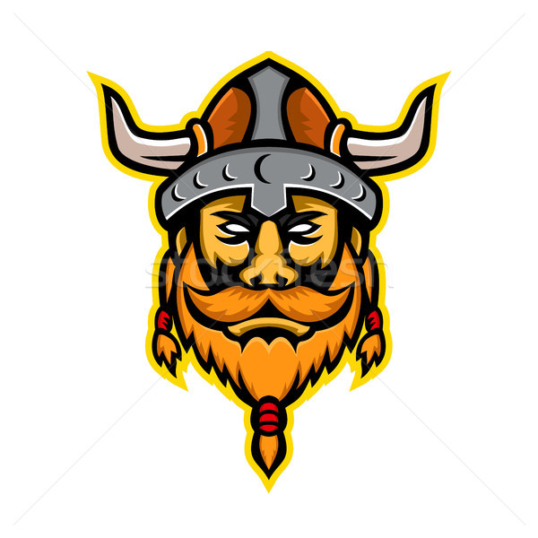 Viking krijger hoofd mascotte icon illustratie Stockfoto © patrimonio