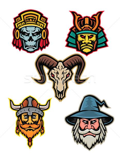 Guerrero cráneo mascota colección icono ilustración Foto stock © patrimonio
