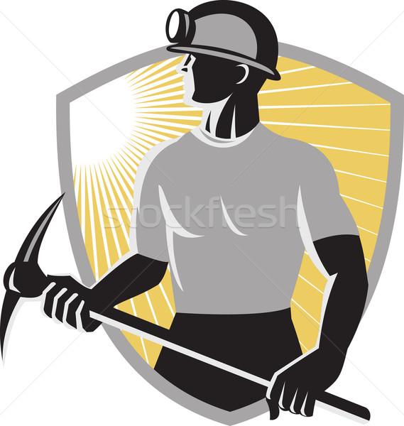 coal-miner-pick-ax-shield Stock photo © patrimonio