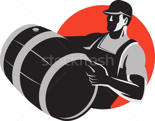 Man Carrying Wine Barrel Cask Keg Retro Stock photo © patrimonio