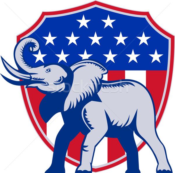 Republican Elephant Mascot USA Flag Stock photo © patrimonio