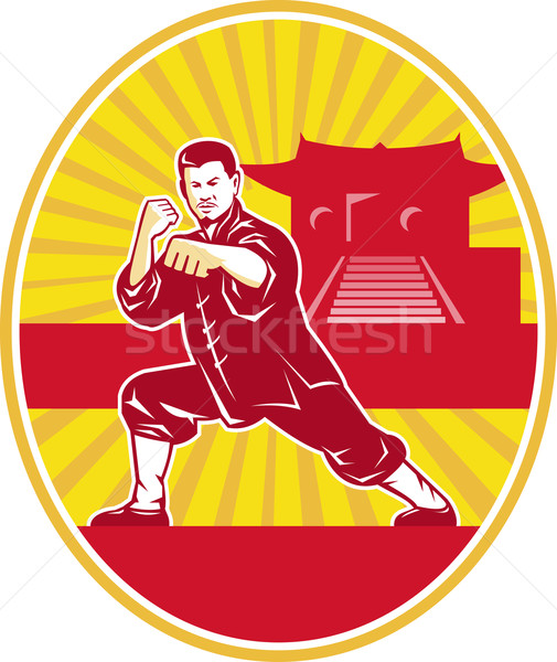 Shaolin Kung Fu Martial Arts Master Retro Stock photo © patrimonio