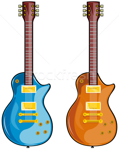 Blues guitare illustration blanche style rétro Photo stock © patrimonio