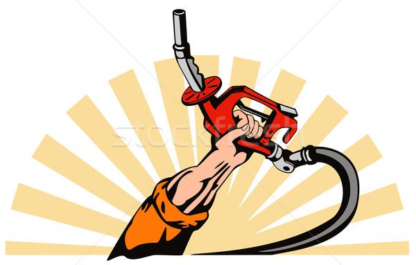 Kéz tart benzin benzinpumpa fúvóka illusztráció Stock fotó © patrimonio