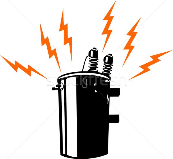 Eletricidade transformador retro ilustração estilo retro Foto stock © patrimonio