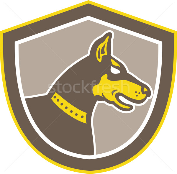 Doberman Pinscher Head Shield Retro Stock photo © patrimonio