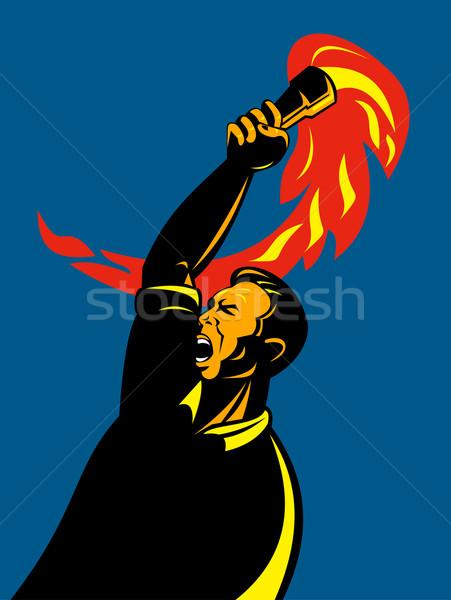 Worker torch revolt Stock photo © patrimonio