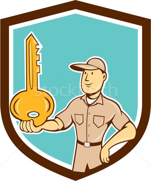 ślusarz równoważenie kluczowych dłoni tarcza cartoon Zdjęcia stock © patrimonio