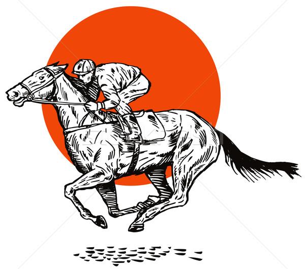 Courses de chevaux vue de côté illustration rouge cercle blanche Photo stock © patrimonio