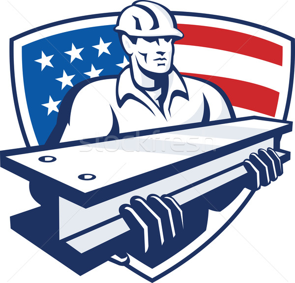 Construction Steel Worker I-Beam American Flag Stock photo © patrimonio