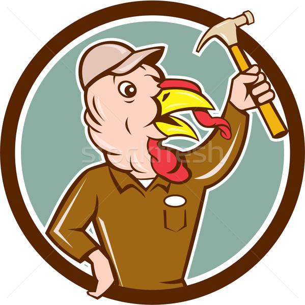 Turkey Builder Hammer Circle Cartoon Stock photo © patrimonio