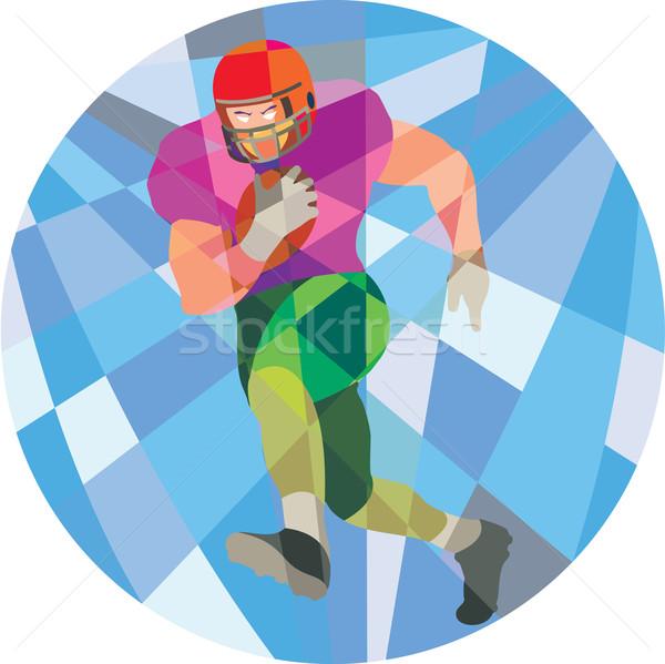 Americano futbolista ejecutando bajo polígono estilo Foto stock © patrimonio