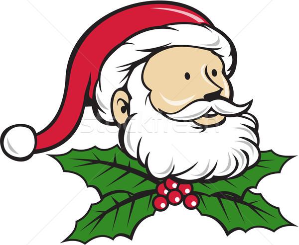 Noel Baba Baba Kafa Noel Karikatür Stil Vektör