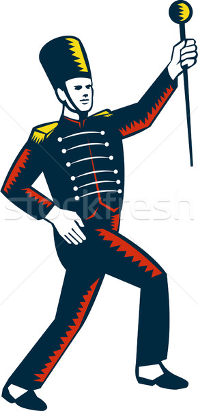 Stock photo: Drum Major Marching Band Leader Woodcut